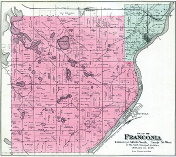 Map is from Plat Book of Chisago County Minnesota, C.M. Foote & Co. 1888